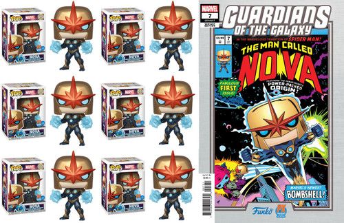 Funko POP! Marvel Nova Prime & Guardians of the Galaxy #7 Exclusive Case of 6 Vinyl Bobble Heads & LE Comic Book #494 [Mike Martin Variant]