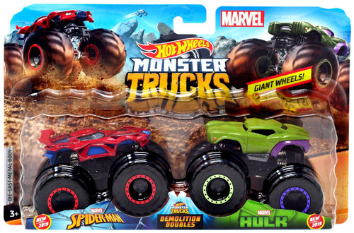 Hot Wheels Monster Trucks Marvel Demolition Doubles Spider-Man & Hulk Diecast Car 2-Pack