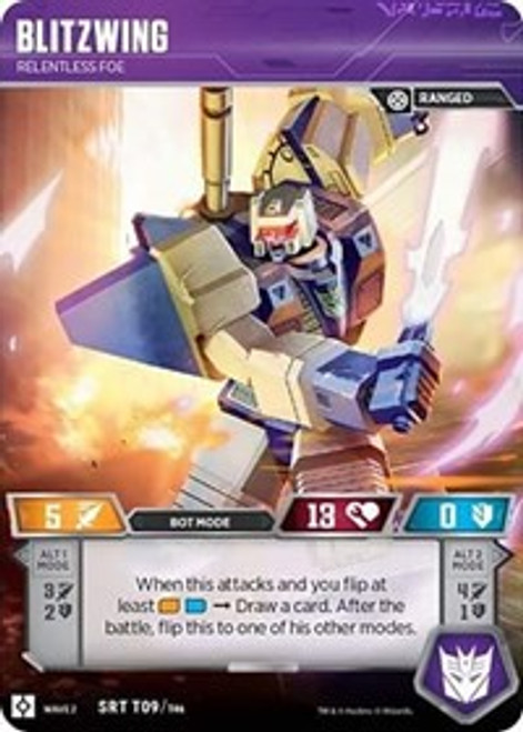 Transformers Trading Card Game Rise of the Combiners Super Rare Blitzwing - Relentless Foe T09