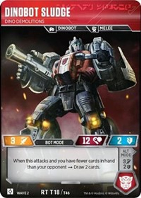 Transformers Trading Card Game Rise of the Combiners Rare Dinobot Sludge - Dino Demolitions T18