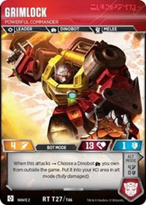 Transformers Trading Card Game Rise of the Combiners Rare Grimlock - Powerful Commander T27