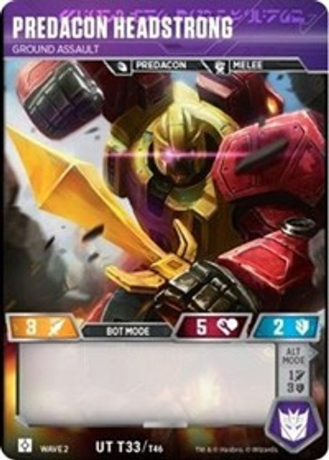 Transformers Trading Card Game Rise of the Combiners Uncommon Predacon Headstrong - Ground Assault T33