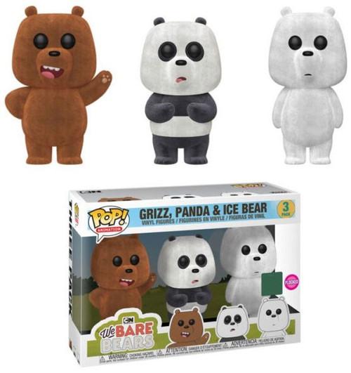Funko We Bare Bears POP! Animation Grizz, Panda & Ice Bear Exclusive Vinyl Figure [Flockled]