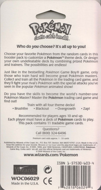 Pokemon Trading Card Game Base Set (Basic) BLISTER Booster Pack [11 Cards, Venusaur Pack Cover]