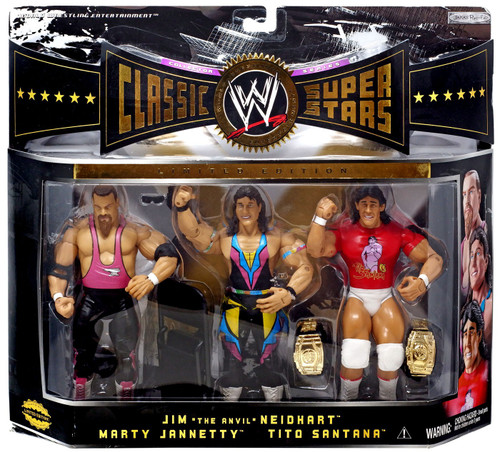 WWE Wrestling Classic Superstars Series 3 Jim The Anvil Neidhart, Marty Jannetty & Tito Santana Exclusive Action Figure 3-Pack