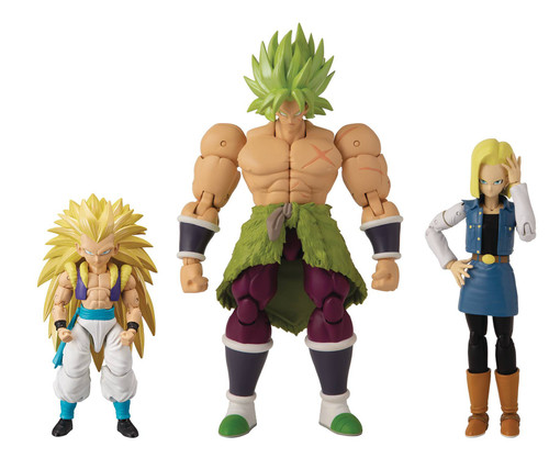 Dragon Ball Super Dragon Stars Series 12 Super Saiyan 3 Gotenks, Super Saiyan Broly & Android 18 Set of 3 Action Figures