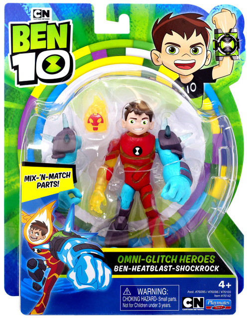 Ben 10 Omni-Glitch Heroes Ben - Heatblast - Shockrock Action Figure
