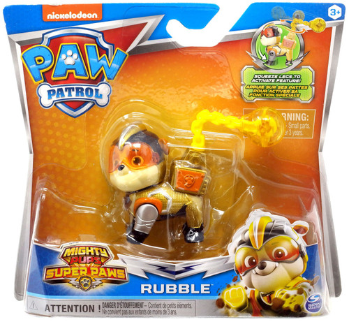 Paw Patrol Mighty Pups Super Paws Rubble Figure