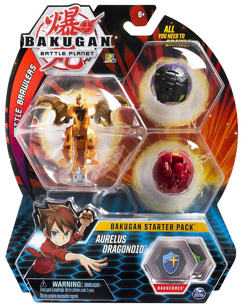 Bakugan Battle Planet Battle Brawlers Starter Pack Aurelus Dragonoid 3-Figure Set