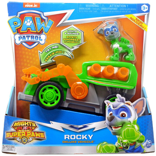 Paw Patrol Mighty Pups Super Paws Rocky Vehicle & Figure