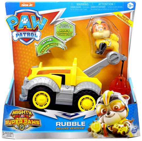 Paw Patrol Mighty Pups Super Paws Rubble Vehicle & Figure