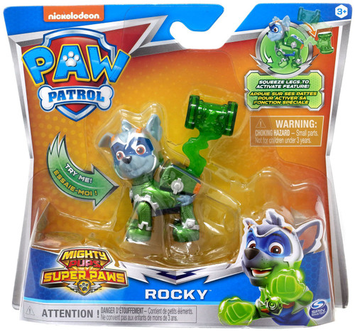 Paw Patrol Mighty Pups Super Paws Rocky Figure