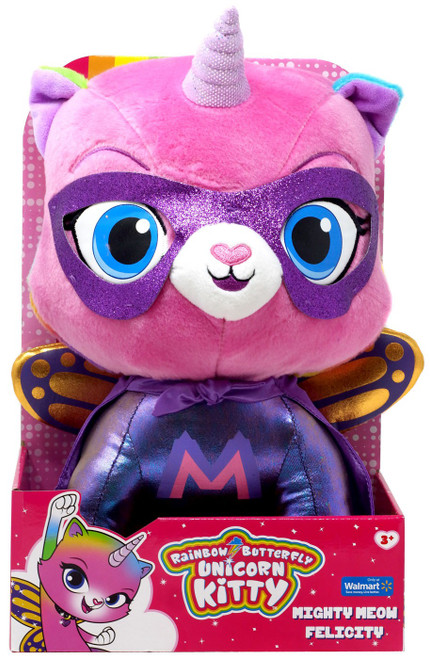 Nickelodeon Rainbow Butterfly Unicorn Kitty Mighty Meow Felicity Exclusive 14-Inch Plush
