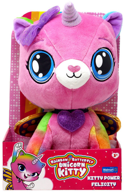Nickelodeon Rainbow Butterfly Unicorn Kitty Kitty Power Felicity Exclusive 14-Inch Plush [with Bow]