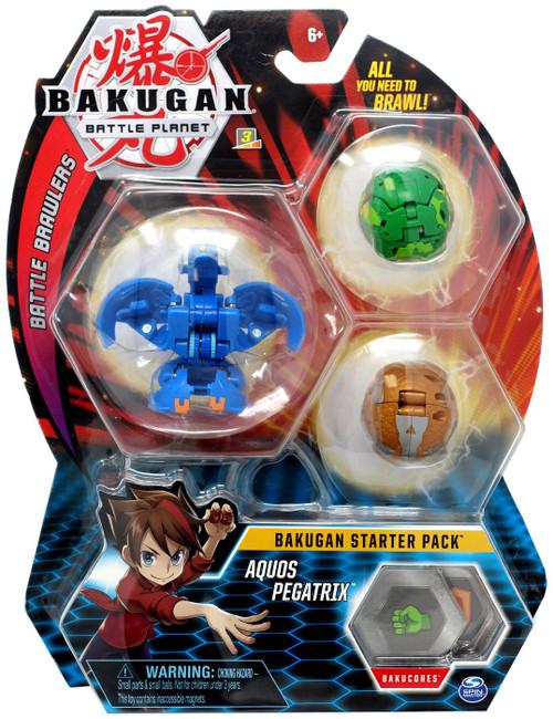 Bakugan Battle Planet Battle Brawlers Starter Pack Aquos Pegatrix 3-Figure Set