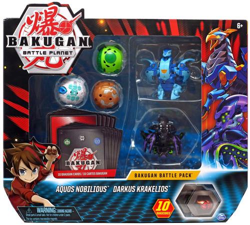 Bakugan Battle Planet Battle Brawlers Aquos Nobilious & Darkus Krakelios Battle Pack