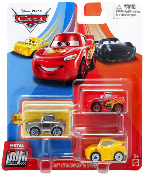 Disney / Pixar Cars Die Cast Metal Mini Racers Rust-Eze Racing Center Car 3-Pack