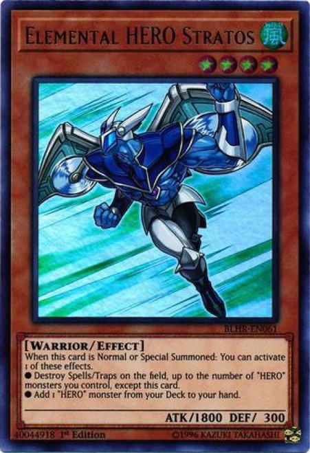 YuGiOh Battles of Legend: Hero's Revenge Ultra Rare Elemental HERO Stratos BLHR-EN061