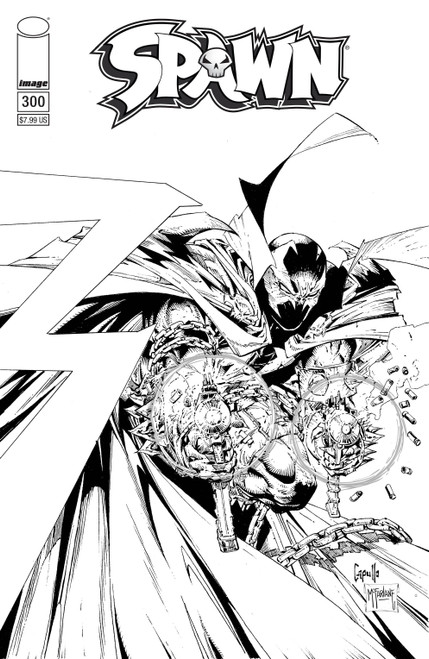 Image Comics Spawn #300 Comic Book [Greg Capullo, Todd McFarlane B&W Variant Cover F]