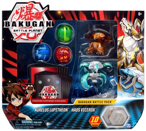 Bakugan Battle Planet Battle Brawlers Aurelus Lupitheon & Haos Vicerox Battle Pack