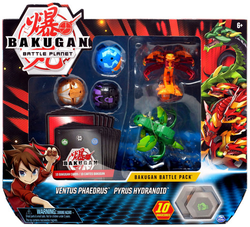 Bakugan Battle Planet Battle Brawlers Ventus Phaedrus & Pyrus Hydranoid Battle Pack