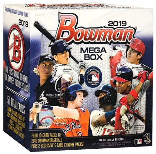 MLB Topps 2019 Bowman Baseball Trading Card MEGA Box [4 Packs + 2 Exclusive Chrome Packs]