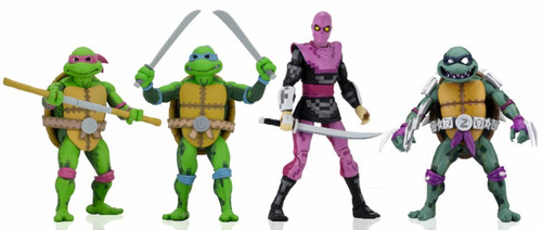 NECA Teenage Mutant Ninja Turtles Turtles in Time Series 1 Leonardo, Donatello, Slash & Foot Soldier Set of 4 Action Figures