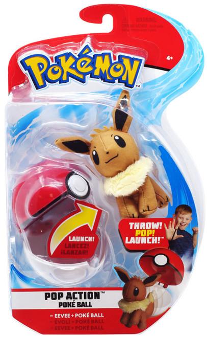 Pokemon Pop Action Poke Ball Eevee & Poke Ball Throw Poke Ball Plush