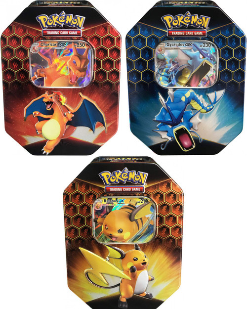 Pokemon Trading Card Game Sun & Moon Hidden Fates Raichu-GX, Gyrados-GX, Charizard-GX Set of 3 Tins