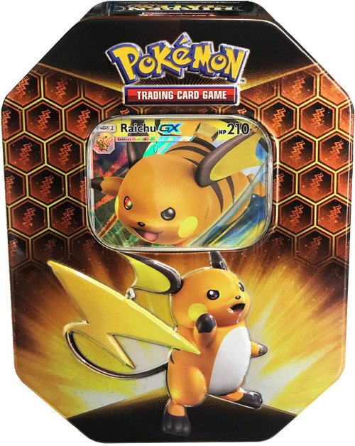 Pokemon Trading Card Game Sun & Moon Hidden Fates Raichu-GX Tin Set [4 Booster Packs & Promo Card]