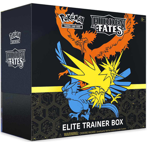 Pokemon Trading Card Game Sun & Moon Hidden Fates Moltres, Zapdos & Articuno Elite Trainer Box [10 Booster Packs, Promo Card, 65 Card Sleeves, 45 Energy Cards & More!] (Pre-Order ships January)