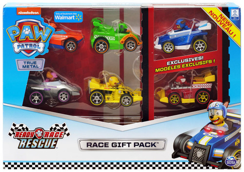 Paw Patrol Ready Race Rescue True Metal Chase, Zuma, Rubble, Marshall, Skye & Rocky Exclusive Diecast Car 6-Pack