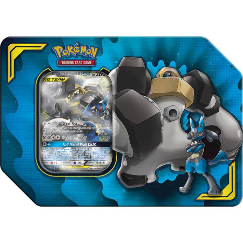 Pokemon Trading Card Game GX Tag Team Power Partnership Lucario & Melmetal-GX Tin Set [4 Hidden Fates Booster Packs, Promo Card & Marker!]
