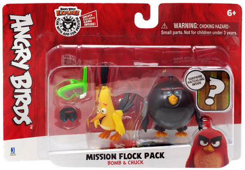 Angry Birds Mission Flock Pack Bomb & Chuck Figure 2-Pack