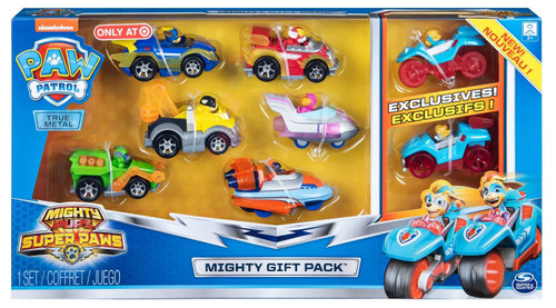 Paw Patrol Mighty Pups Super Paws True Metal Chase, Zuma, Rubble, Marshall, Skye & Rocky Exclusive Diecast Car 8-Pack