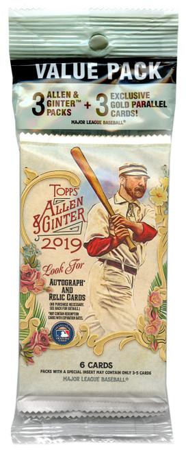 MLB Topps 2019 Allen & Ginter Baseball Trading Card VALUE Pack [3 Packs + 3 Gold Parallel Cards]