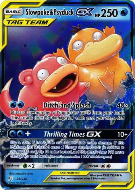 Pokemon Trading Card Game Unified Minds Ultra Rare Slowpoke & Psyduck GX #35