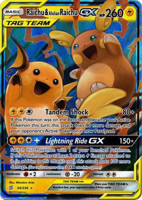 Pokemon Trading Card Game Unified Minds Ultra Rare Raichu & Alolan Raichu GX #54