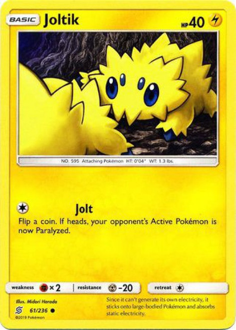 Pokemon Trading Card Game Unified Minds Common Joltik #61