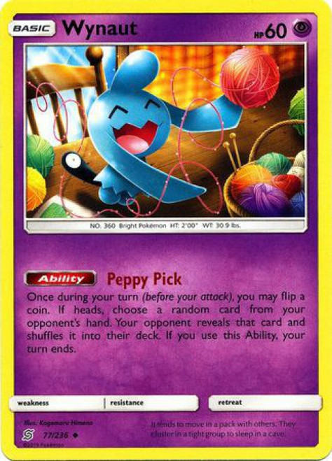 Pokemon Trading Card Game Unified Minds Uncommon Wynaut #77