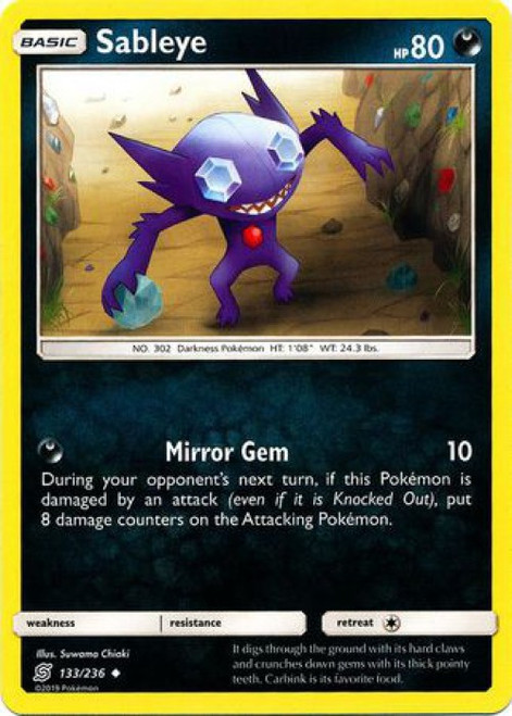 Pokemon Trading Card Game Unified Minds Uncommon Sableye #133