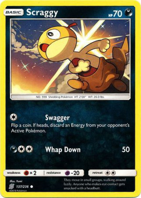 Pokemon Trading Card Game Unified Minds Common Scraggy #137