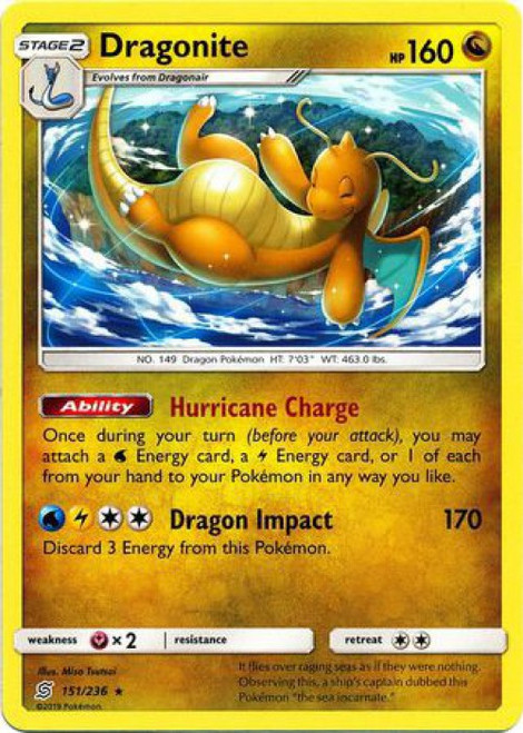 Pokemon Trading Card Game Unified Minds Rare Dragonite #151