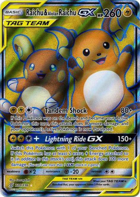 Pokemon Trading Card Game Unified Minds Ultra Rare Raichu & Alolan Raichu GX #220