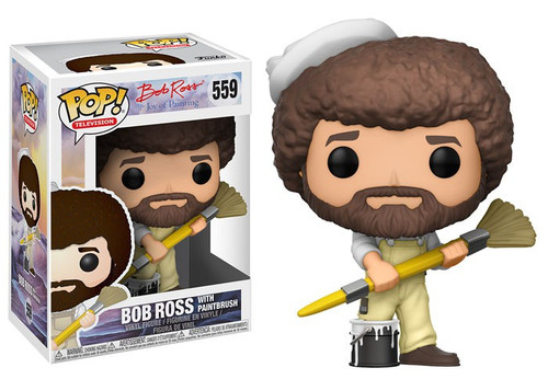 Funko Joy of Painting POP! TV Bob Ross with Paintbrush Vinyl Figure #559 [Overalls, Damaged Package]