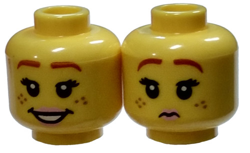 Female Freckles, Pink Lips, Smile / Pursed Lips Minifigure Head [Dual Sided Loose]