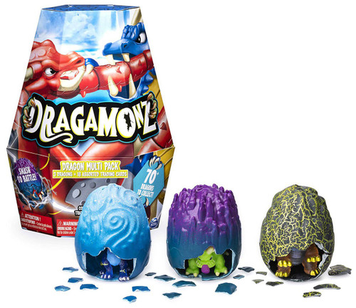 Dragamonz Collectible Figure & Trading Card Game Dragon Multi Pack Mystery 3-Pack Starter Set
