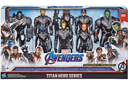 Marvel Avengers Endgame Titan Hero Series Iron Man, Capt. America, Hulk, Black Widow, Thor, Nebula, Rocket Raccoon & War Machine Exclusive Action Figure 8-Pack