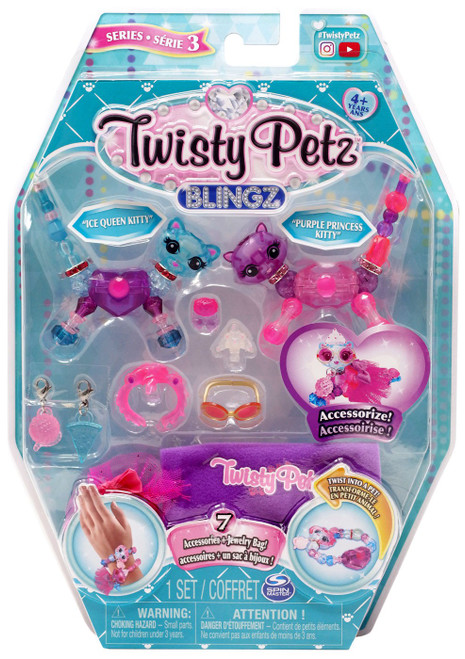 Twisty Petz Blingz Series 3 Ice Queen Kitty & Purple Princess Kitty 2-Pack Set