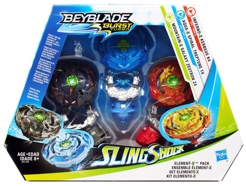 Beyblade Burst Turbo Slingshock Element-X Exclusive 3-Pack [Inferno-X Kerbeus K4, Aqua-X Spiral Treptune T4 & Mountain-X Galaxy Zeutron Z4]